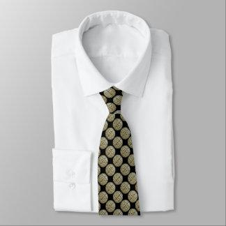 Filigree Circle Design in Gold Color Neck Tie