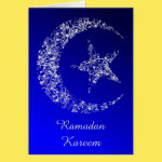 Filigree Crescent Moon and Star Greeting Card