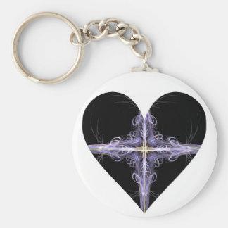 Filigree Design Fractal Art Heart Key Chain