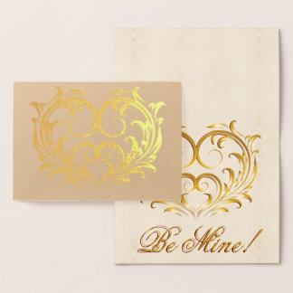Filigree Gold Foil Heart - Be Mine! #2 Foil Card