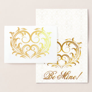Filigree Gold Foil Heart - Be Mine! Foil Card