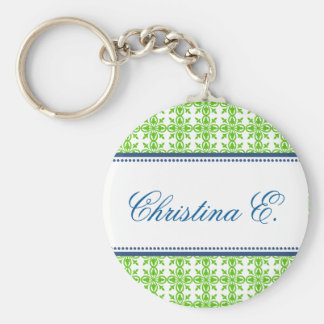 Filigree green navy custom name bridesmaid key fob key chain