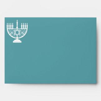 Filigree Hanukkah Menorah Envelope