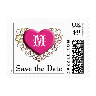 Filigree Heart Monogram, Save the Date Stamps