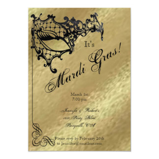 Filigree Mask on Gold Mardi Gras Party Announcement