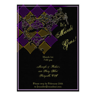Filigree Mask on Purple and Gold Mardi Gras Party Announcements