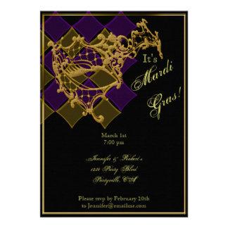 Filigree Mask on Purple and Gold Mardi Gras Party Invites