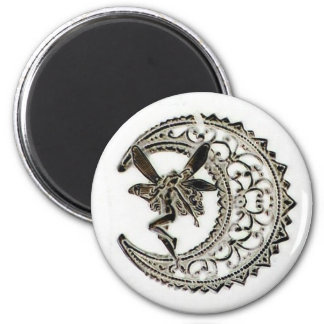 Filigree Moon Fairy 2 Inch Round Magnet