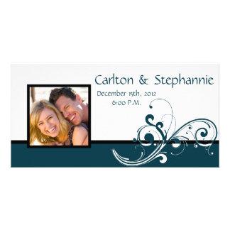 Filigree Navy/White Photo Wedding Announcement
