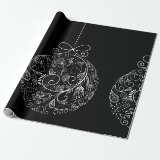 Filigree Ornaments  on Black Wrapping Paper
