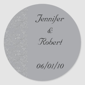Filigree Pattern in Smoke Grey Classic Round Sticker