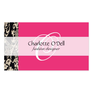 filigree; pink// white Double-Sided standard business cards (Pack of 100)