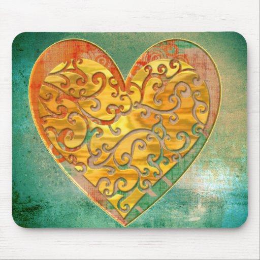 Filigree Pop Art Heart Mouse Pads
