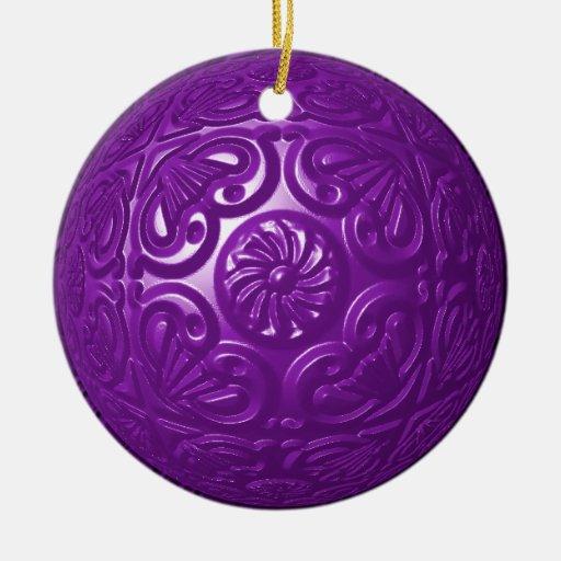 Filigree - Purple Double-Sided Ceramic Round Christmas Ornament