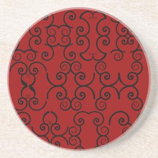 Filigree Red & Black Sandstone Coaster