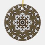 Filigree Rusted Metal Mandala Christmas Ornament