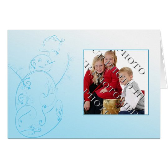 Filigree Snowman in Blue Photo Christmas Card