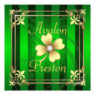 Filigree St Patrick's Day Wedding Invitation