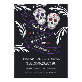 Filigree Sugar Skull Banner Save the Date 4.5x6.25 Card