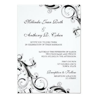 Filigree Swirl Black w/White 5x7 Wedding 5x7 Paper Invitation Card