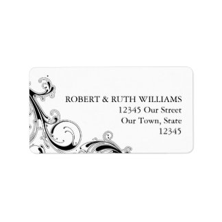 Filigree Swirl Black w/White Address Label Custom Address Labels