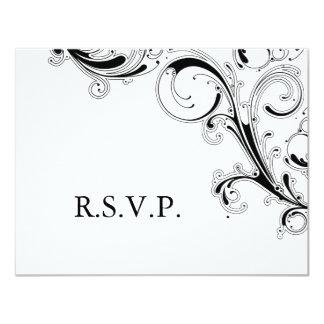 Filigree Swirl Black w/White RSVP 4.25x5.5 Paper Invitation Card
