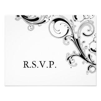 Filigree Swirl Black w White RSVP Custom Announcements