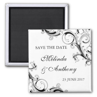 Filigree Swirl Black w/White Save the Date Magnet