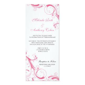Filigree Swirl Honeysuckle Pink 4 x 9.25 Wedding 4x9.25 Paper Invitation Card