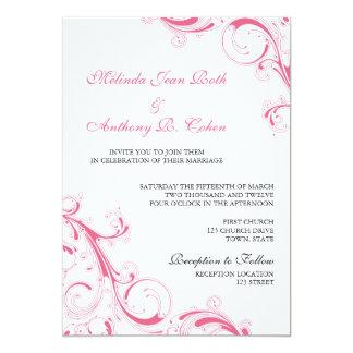 Filigree Swirl Honeysuckle Pink 5x7 Wedding 5x7 Paper Invitation Card