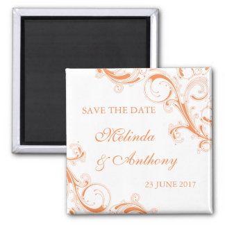 Filigree Swirl Orange Save the Date Magnet