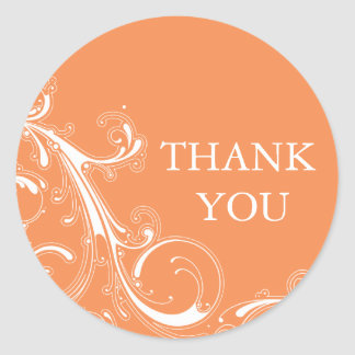 Filigree Swirl Orange Thank You Classic Round Sticker