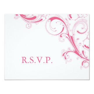 Filigree Swirl Pink RSVP Card