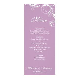 Filigree Swirl Violet Menu 4x9.25 Paper Invitation Card