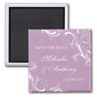 Filigree Swirl Violet Save the Date 2 Inch Square Magnet