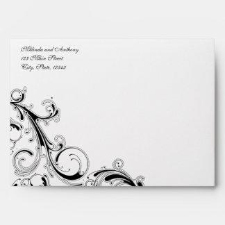 Filigree Swirl White w/Black 5x7 A7 Envelope
