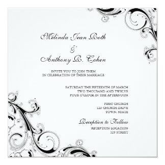 Filigree Swirl White w/Black Square Wedding Card