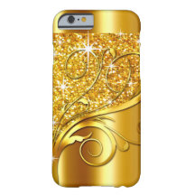 Filigree Vines Glitter Metal | gold metallic Barely There iPhone 6 Case