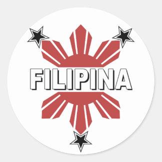 Filipina Sun and Star Round Stickers