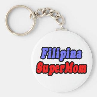 Filipina SuperMom Basic Round Button Keychain