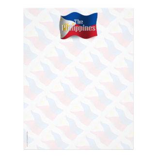 Filipinas que agitan la bandera membrete personalizado