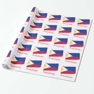 Filipinas señalan por medio de una bandera sobre papel de regalo