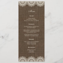 Filipiniana Lace on Burlap Wedding Menu Card