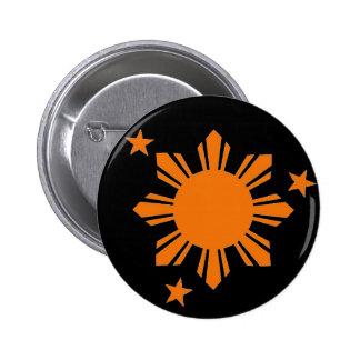 Filipino anaranjado Sun/botón de las estrellas Pin Redondo De 2 Pulgadas