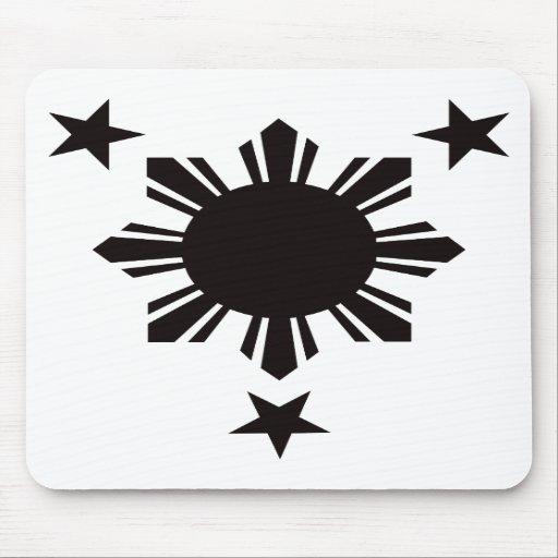 Filipino Basic Sun and Stars - Black Mouse Pads