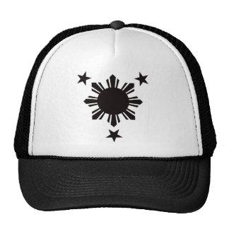 Filipino Basic Sun and Stars - Black Trucker Hat