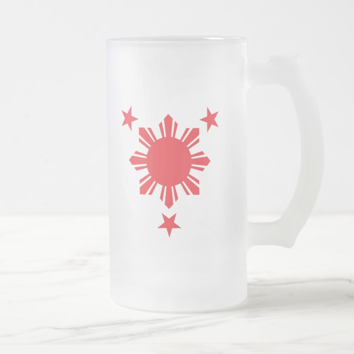 Filipino Basic Sun and Stars - Red Frosted Glass Beer Mug