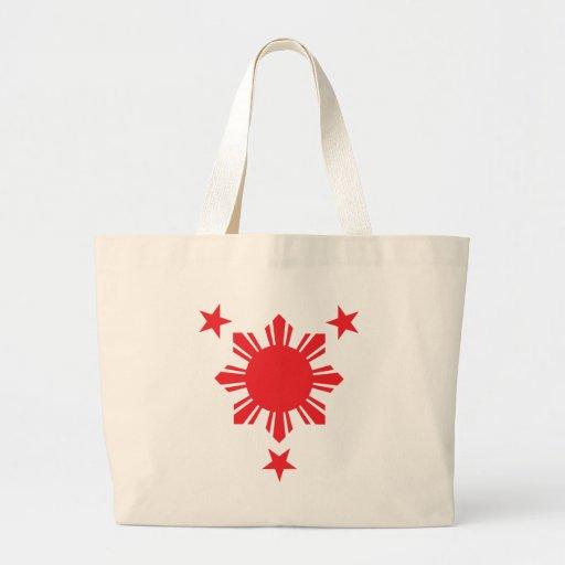 Filipino Basic Sun and Stars - Red Jumbo Tote Bag
