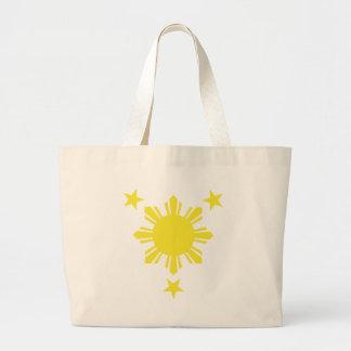 Filipino Basic Sun and Stars - Yellow Canvas Bags
