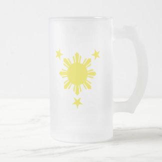 Filipino Basic Sun and Stars - Yellow Frosted Glass Beer Mug